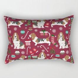 Basset Hound christmas pattern christmas dog breed pet friendly gifts Rectangular Pillow