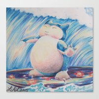 snorlax Canvas Prints featuring Snorlax Used Surf by LaurelAnneEquineArt