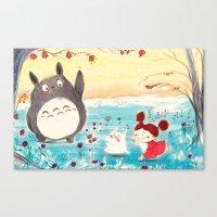studio ghibli Canvas Prints featuring Fan-art Studio Ghibli  by Maureen Poignonec