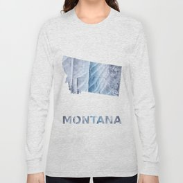 Montana map outline Light steel blue clouded wash drawing Long Sleeve T-shirt