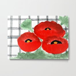 Poppies and Plaid Metal Print