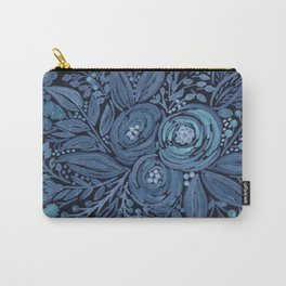 Watercolor .  Black and blue floral pattern . Carry-All Pouch