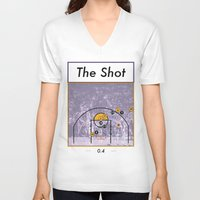 lakers V-neck T-shirts featuring The Shot Series, Derek Fisher by Dyllin Shane