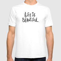 Life is Beautiful (white) White SMALL Mens Fitted Tee