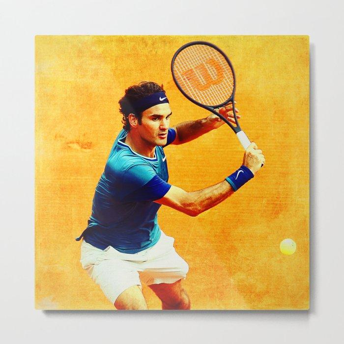 Roger Federer Tennis On Clay Metal Print