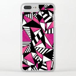 Geometric Pink Clear iPhone Case