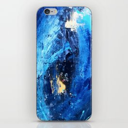 Vortex: a vibrant, blue and gold abstract mixed-media piece iPhone Skin