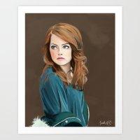 emma stone Art Prints featuring Emma Stone by Artsy Rosebud