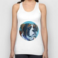 nori Tank Tops featuring Nori the Therapy Boxer by Barking Dog Creations Studio