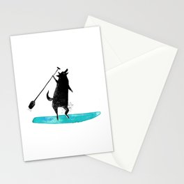 Wolf Paddle Howl - Wolf paddle boarding on the ocean Stationery Cards