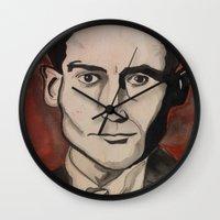 kafka Wall Clocks featuring Franz Kafka by Emily Storvold