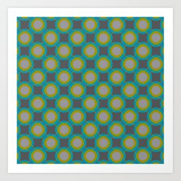 Contemporary Circle Pattern Retro Background Gray Turquoise Chartreuse Art Print