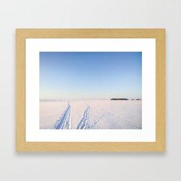 Footsteps in Snow on Lake Ice Framed Art Print