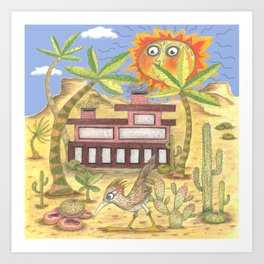 desert modernism, blue beige yellow green Art Print