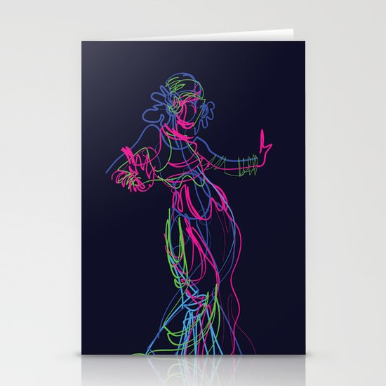 Tribal fusion dance color power. Abstract. Neon glowing  gesture sketch by jera