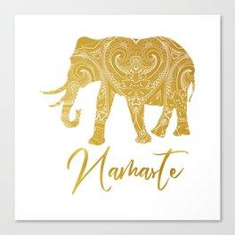 Namaste Golden Elephant Canvas Print