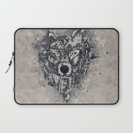 Geometric Wolf Mandala Laptop Sleeve