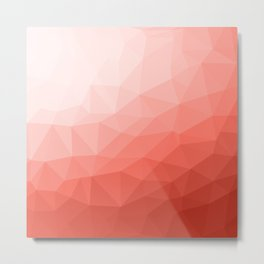 Living coral geometric mesh ombre pattern Metal Print