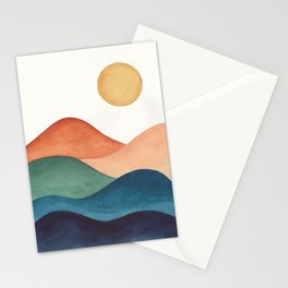 Colorful Abstract Mountains Stationery Cards