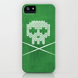 Knitted Skull - White on Deep Green iPhone Case