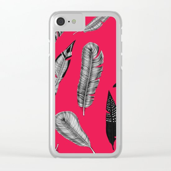 Seamless pattern with various hand drawn feathers on red background. Clear iPhone Case
