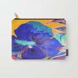 Birthday Acrylic Blue Orange Hibiscus Flower Painting with Red and Green Leaves Carry-All Pouch
