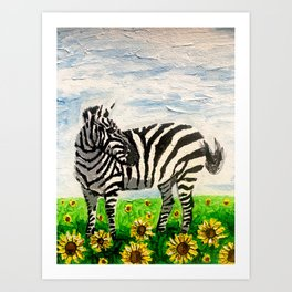 Stripes and Sunflowers Art Print