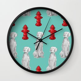 HYDRANTS AND WEIMARANERS Wall Clock