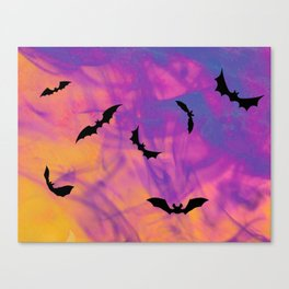 Bats On Hallows Eve Canvas Print