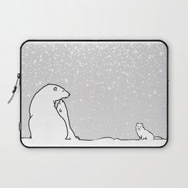 Art print: The polar bear family and the arctic fox Laptop Sleeve
