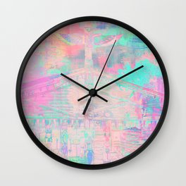 Totem Cabin Abstract - Pastel Wall Clock