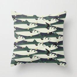 Mackerel fish close up Throw Pillow