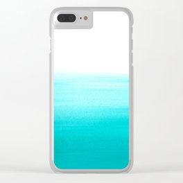 Dip dye abstract in pastel aqua blue Clear iPhone Case