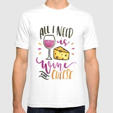 All I Need is Wine and Cheese MEDIUM Mens Fitted Tee White