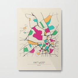 Colorful City Maps: Antwerp, Belgium Metal Print