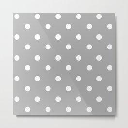 Gray With Teeny Weeny White Polka Dots Metal Print