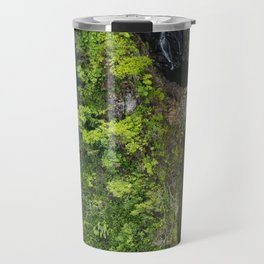 Just Beyond the No Trespassing Sign - Crooked Tropical Waterfall Travel Mug