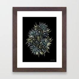 Hidden Creatures - Grey / Khaki Framed Art Print