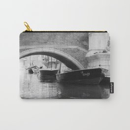 the boats sit quietly in the Venice Canals; black and white photography Carry-All Pouch