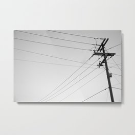 Wires and pole in front or sky Metal Print