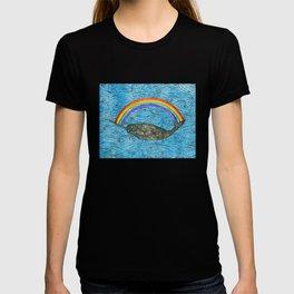 Narwhale Rainbow Blue Ocean Waves T-shirt