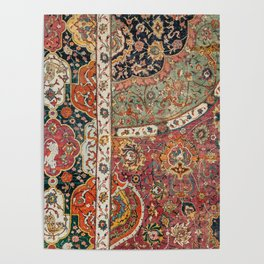 Persian Medallion Rug II // 16th Century Distressed Red Green Blue Flowery Colorful Ornate Pattern Poster