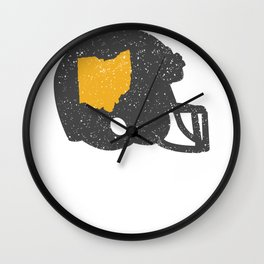 State Shape of Ohio Vintage Football Helmet Wall Clock