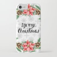 merry christmas iPhone & iPod Cases featuring Merry Christmas by Julia Badeeva
