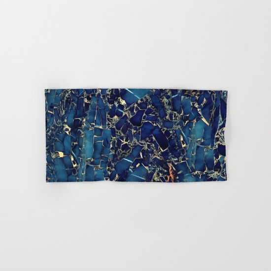 Dark blue stone marble abstract texture with gold streaks Hand & Bath Towel