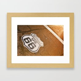 Midpoint in the historic Route 66. Framed Art Print