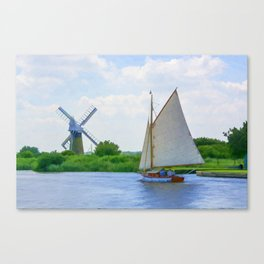 Sailing the Norfolk Broads Canvas Print