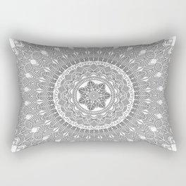 Black and White Feather Mandala Boho Hippie Rectangular Pillow
