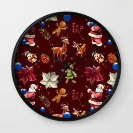 Joyful Christmas Santa Elfs Deers Wall Clock