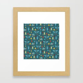 Little Bugs and Mini Beasts on Teal Framed Art Print